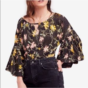 NWT Free People Floral Ruffle Sleeves Blouse Small